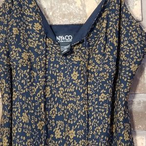 New York & Company Dresses - NY&CO Navy Gold Floral A line Dress size 12